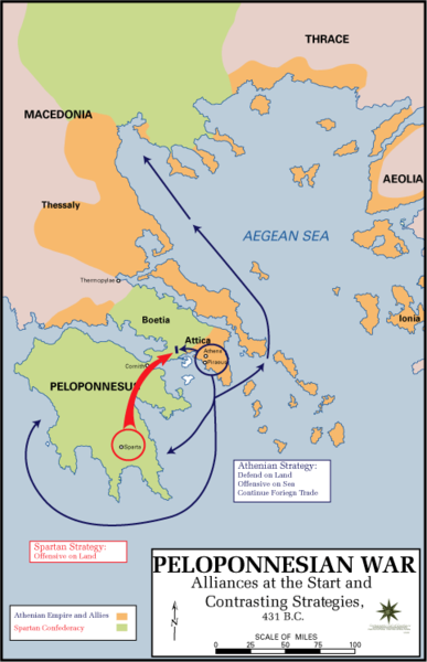 Map of Sparta and its allies and Athens and its allies, the latter mostly along the shores and on the islands of the Aegean Sea.