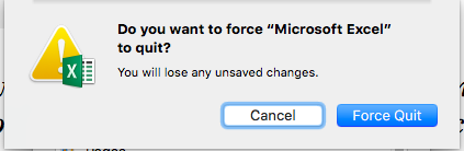 A system will notify you of unsaved changes in the document or file - Mac