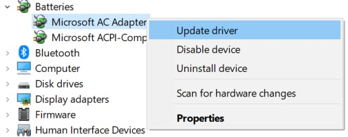 Microsoft AC Adapter's context menu in the Device Manager