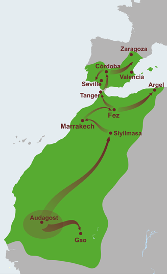 map of the extent of the almoravid empire at its peak