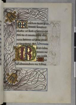 A page of BnF MS latin 17332 with a large initial containing the intertwined letters R and I. A partial border shows numerous entangled strings.