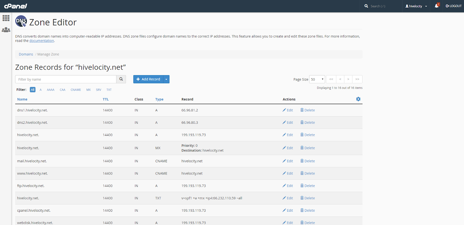 Manage selection in Zone Editor. Here you will see all previously created DNS records.