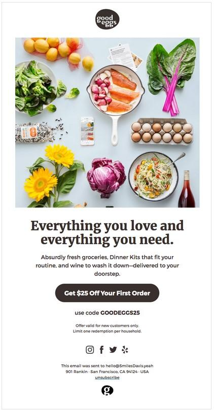 Another great example of a promotional offer is from Good Eggs. They offer a $25 discount on your first order and pair it with great, wholesome imagery.