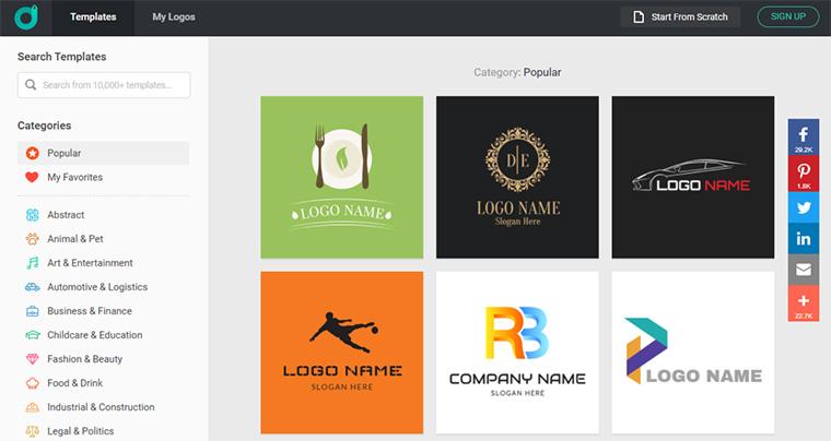 página inicial do designevo