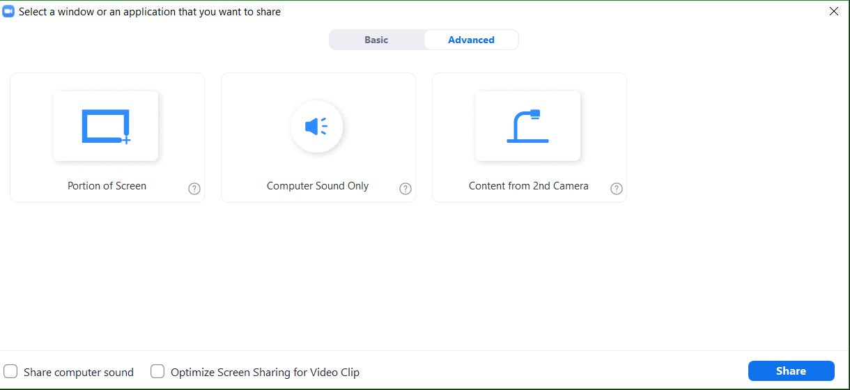 Advanced Content Sharing window displaying the more advanced options for sharing content.