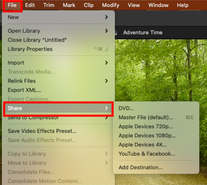 screenshot of FCP UI with share option selected