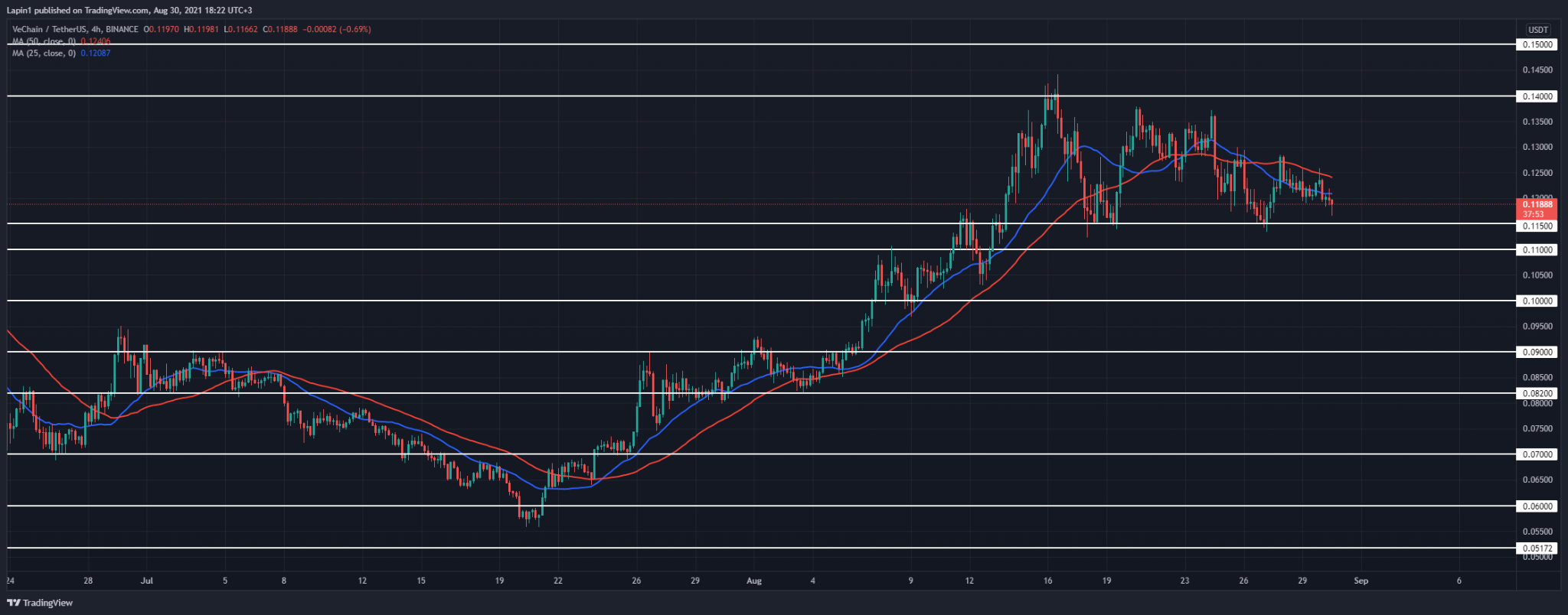 VeChain Price Analysis: VET continues to decline, set to retest $0.115 again?