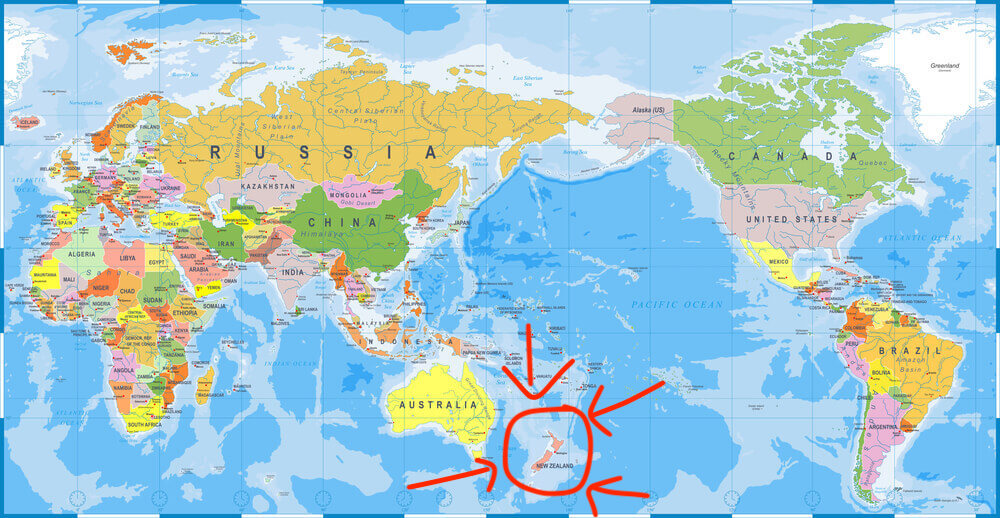 world map with new zealand marked in red