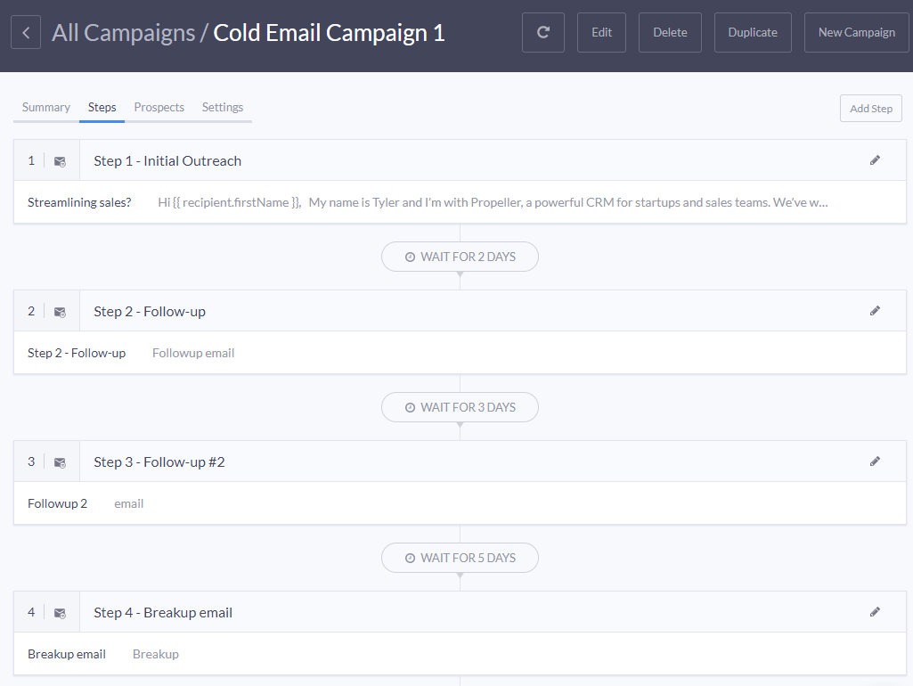 Then, create your email sequence to define each step: