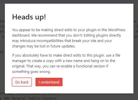 Disable WArning Box file editing