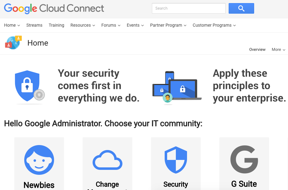 Google Cloud Connect home page screenshot
