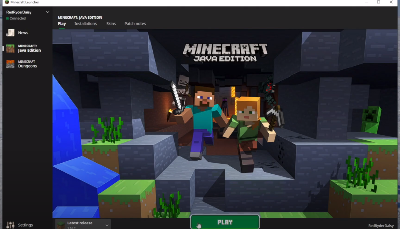 Opening up Minecraft game