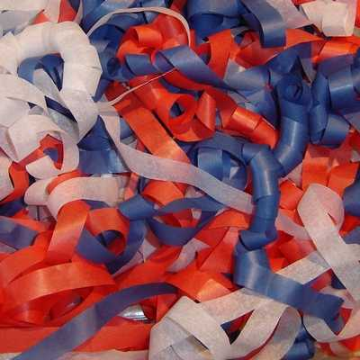 Red White and Blue Tissue Streamers for shooting during parades and ceremonies.