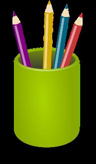 Pens, Pencils, Crayons, Green, Holder, Office, Tools