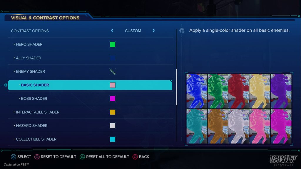 Contrast Options menu showing the full list of Shaders: Hero, Ally, Basic Enemy, Boss Enemy, Interactable, Hazard, and Collectible.