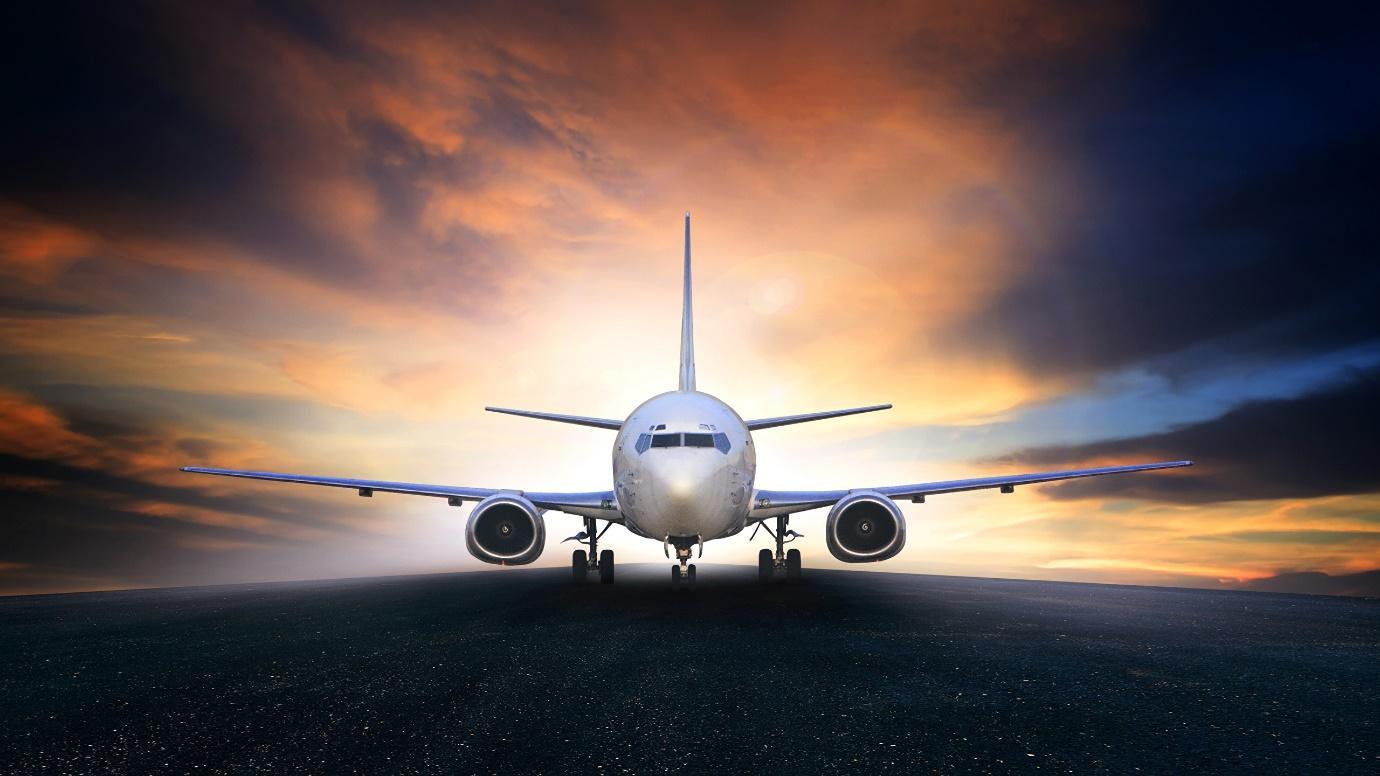 Image Airplane Passenger Airplanes Sky Asphalt Evening 2560x1440