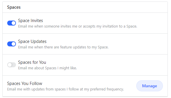 quora spaces email notifications