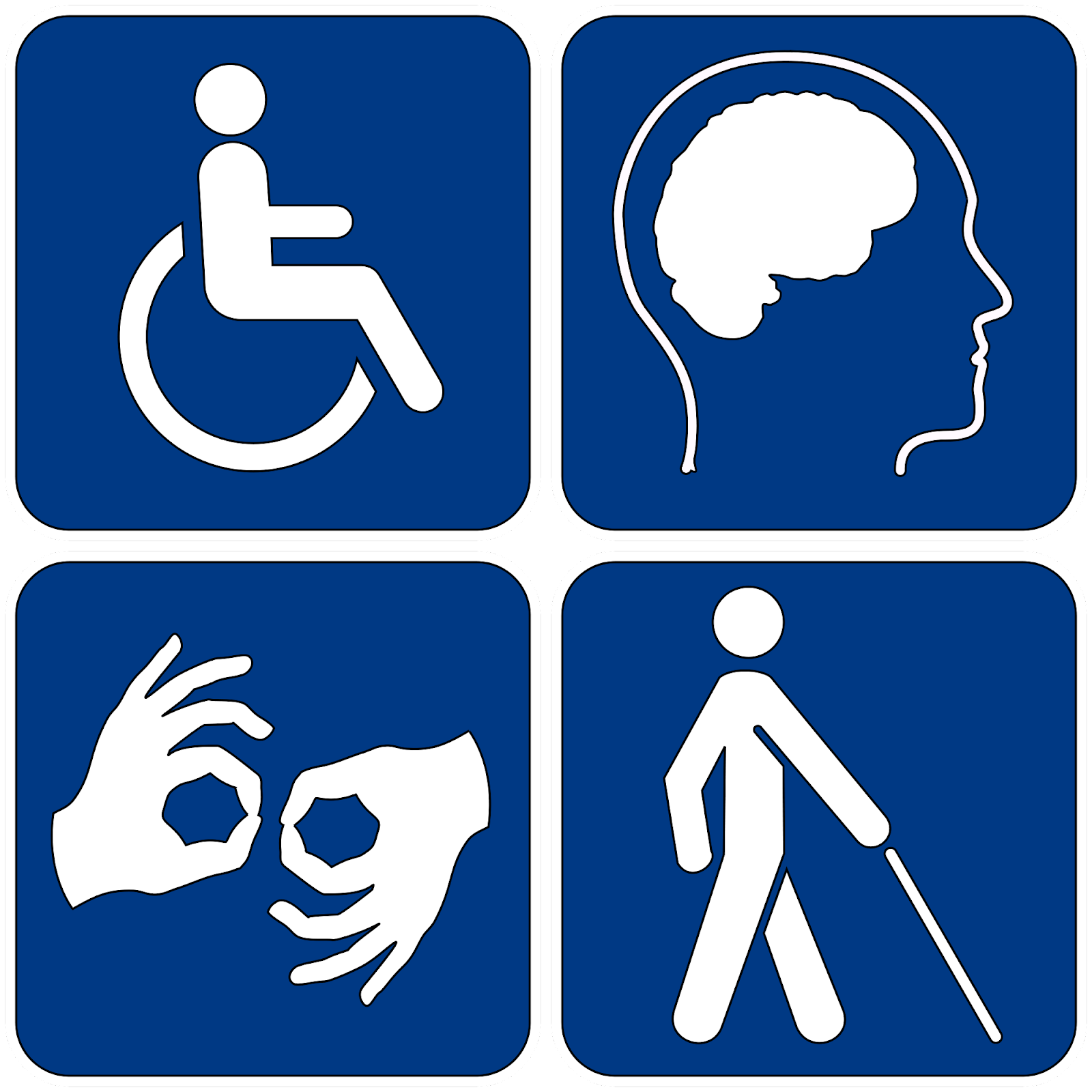 Four symbols representing physical, cognitive, auditory, and visual disabilities