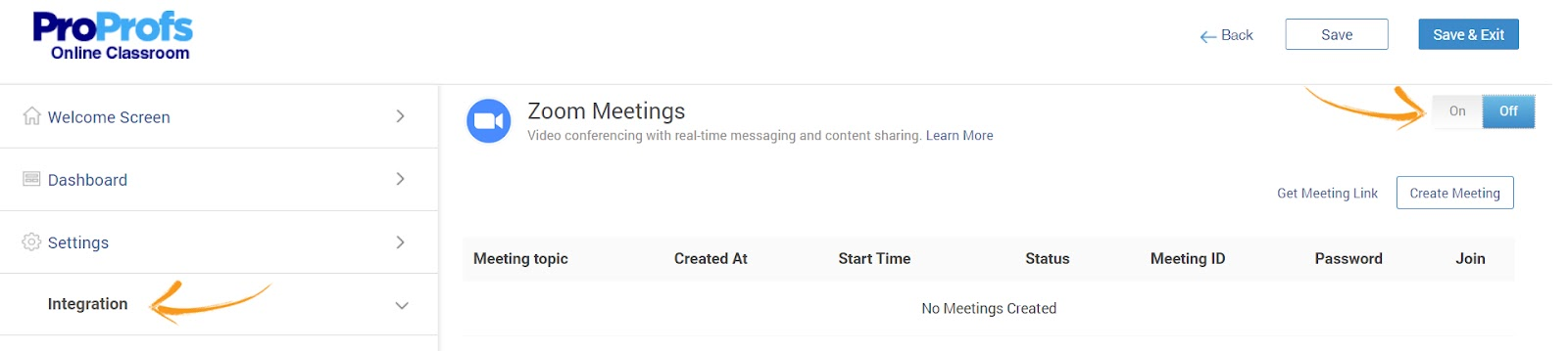 Integrate Zoom meetings and Training Software