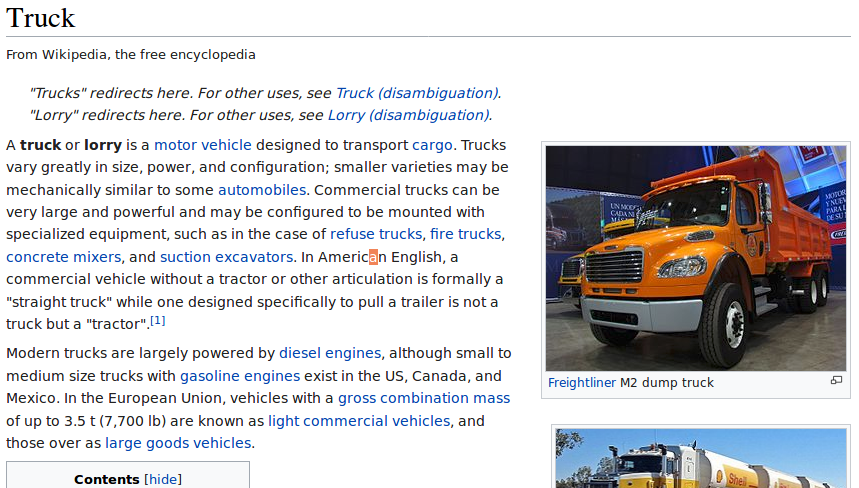 "A screenshot of the introduction to the Wikipedia entry for the term ""Truck."""