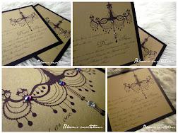 chandelier rhinestone wedding invitation