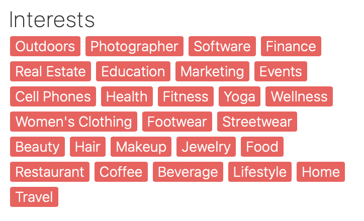 Multiple Interest Options for Brands Looking to Book Influencers for Marketing Campaigns