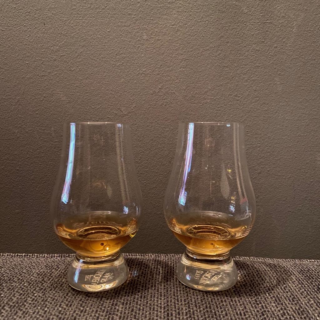 Glencairn Glasses with whiskey in them