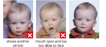 Russian visa photo specifications smaples with photos of children