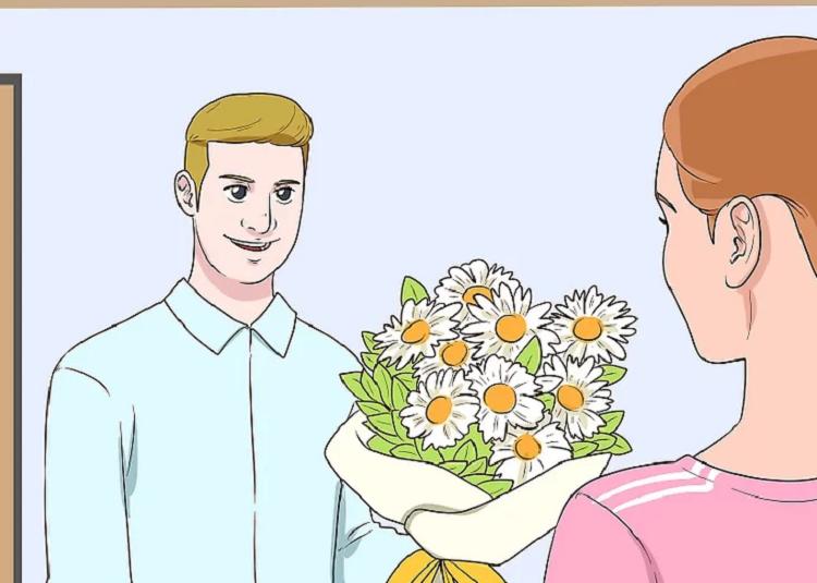 Tặng hoa cho cô ấy