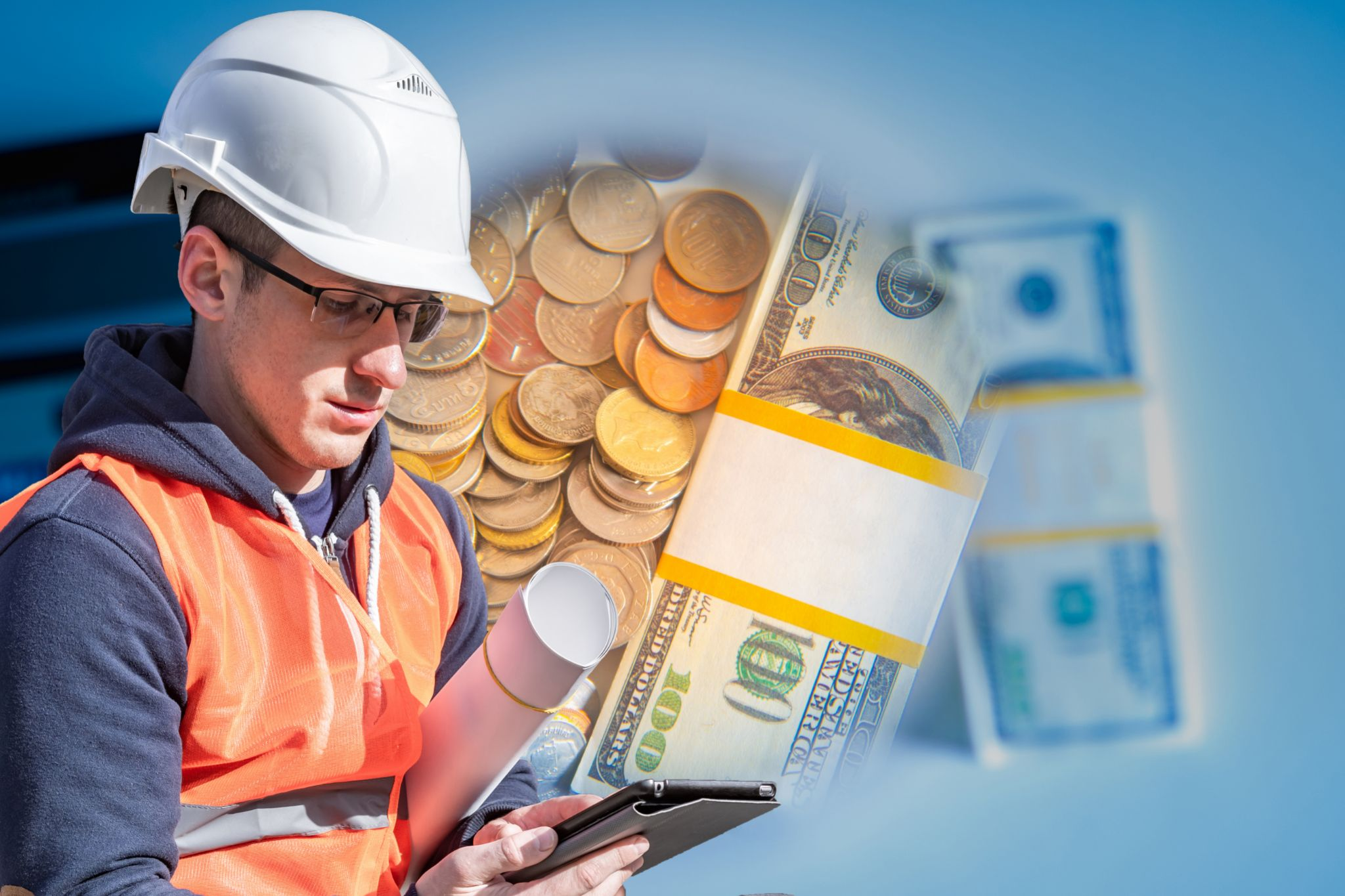 Structural engineer looking at a tablet with money bills and coins in the background.