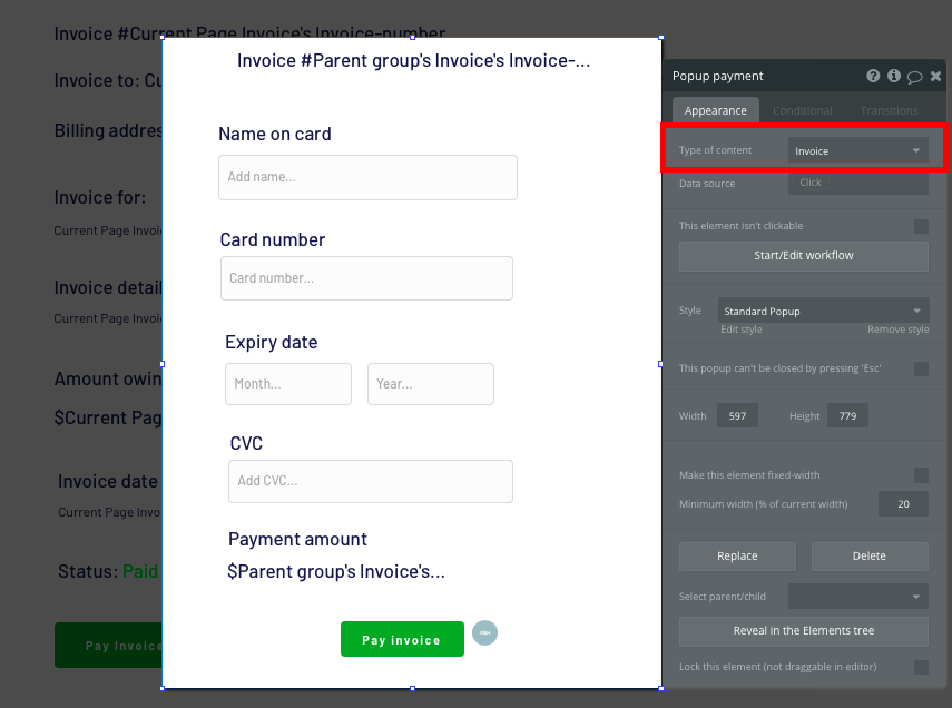 Adding a payment form to a no-code Quickbooks clone app