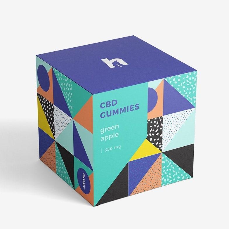 xu hướng thiết kế bao bì hình học: hộp cho kẹo cao su được thiết kế với các mẫu hình học khác nhau