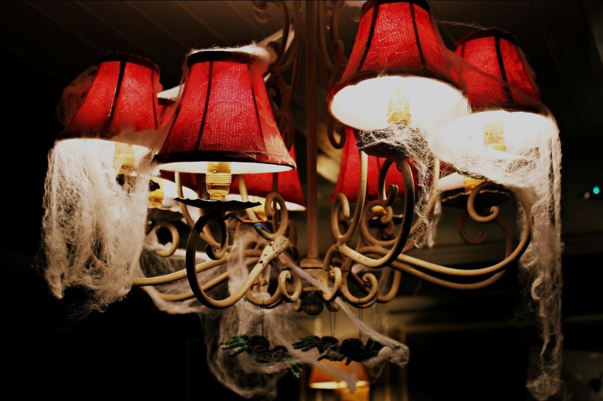 Fake cobwebs on a lighting fixture