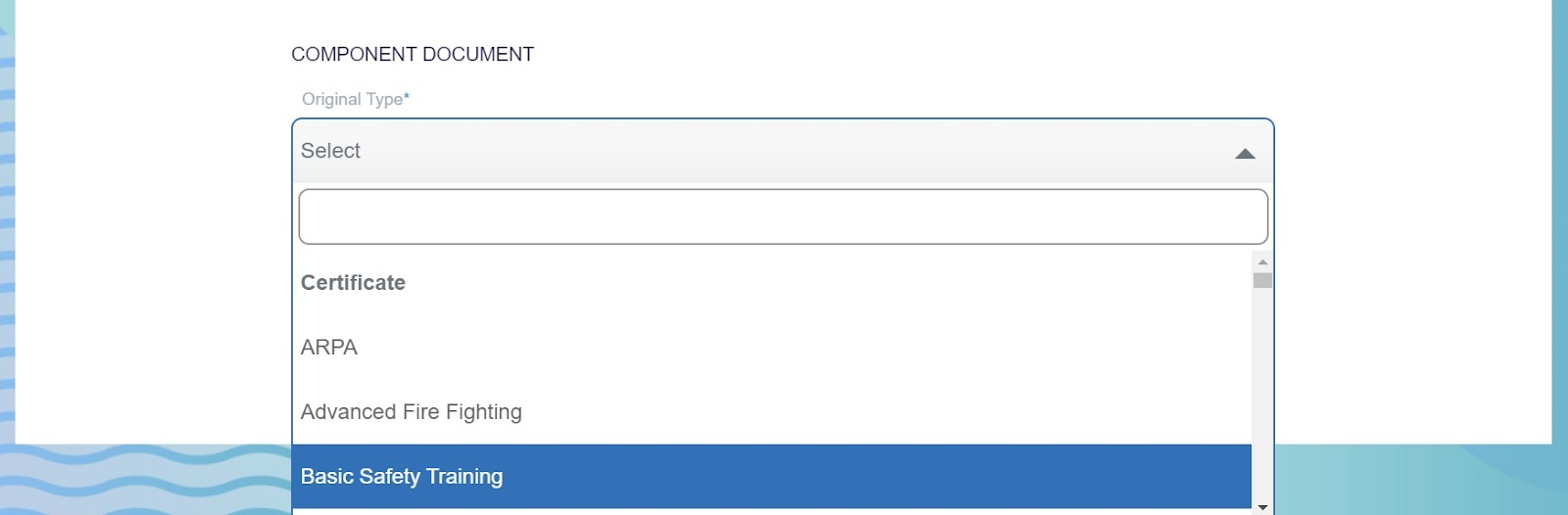 screenshot of Martide website showing the drop down menu