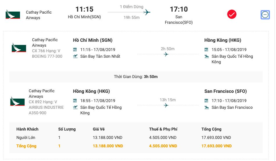 Vé máy bay từ Sài Gòn đi San Francisco của Cathay Pacific.