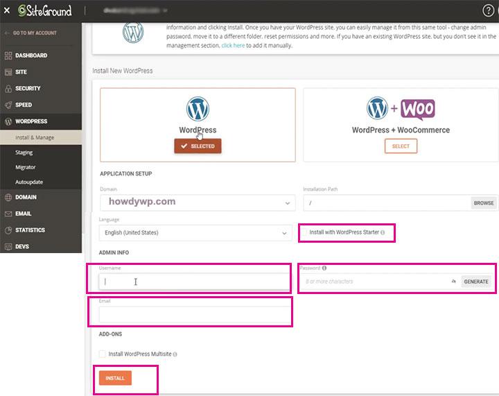 How install WordPress on Siteground hosting WP setup