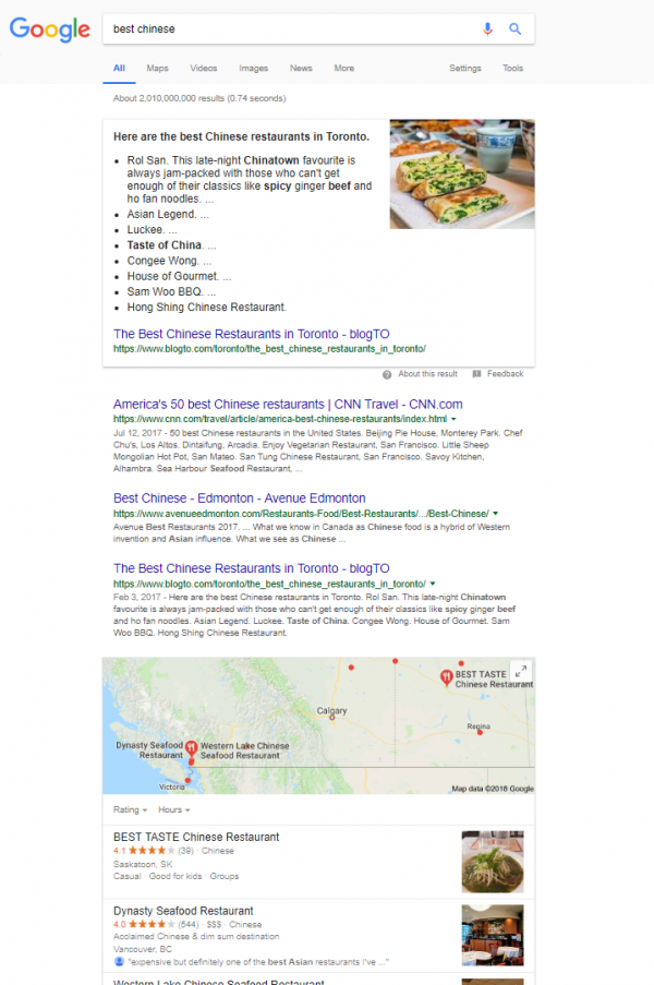 Screenshot of a google search for the phrase