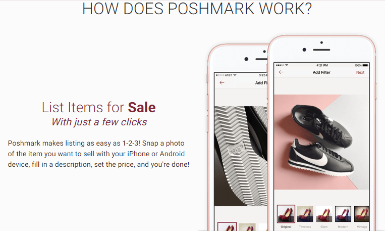 a screenshot of poshmark's page for  selling on poshmark
