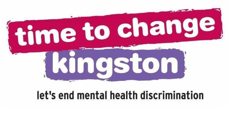 Logo for 'Time to change Kingston'. Tagline: let's end mental health discrimination
