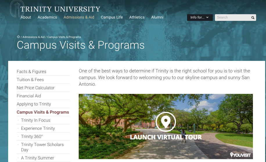 Trinity University Campus Visits and Programs