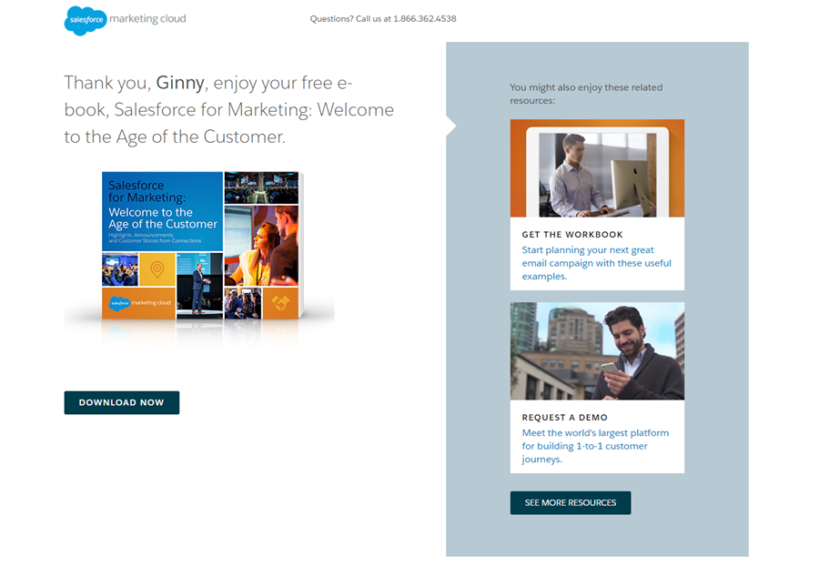 Salesforce thank you page.