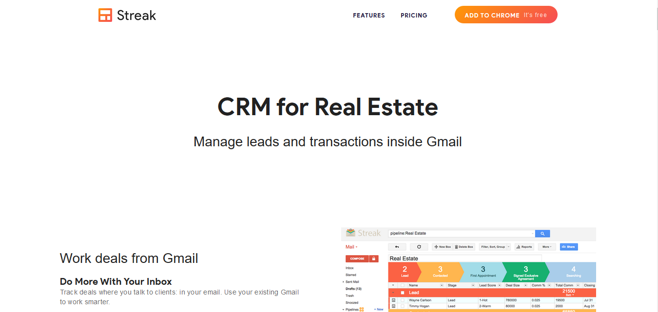 Streak CRM for Real Estate, for free
