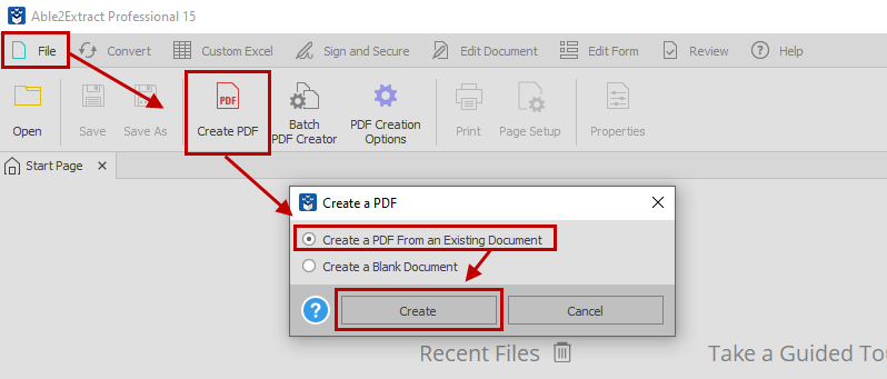 Converting .pub to PDF using Able2Extract Professional