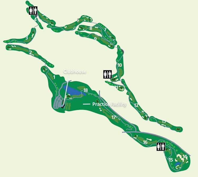An illustrated map of The Quail Course at The Okanagan Golf Club.