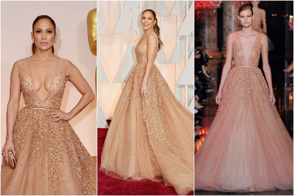 Jennifer Lopez in Elie Saab on the 2015 Oscars