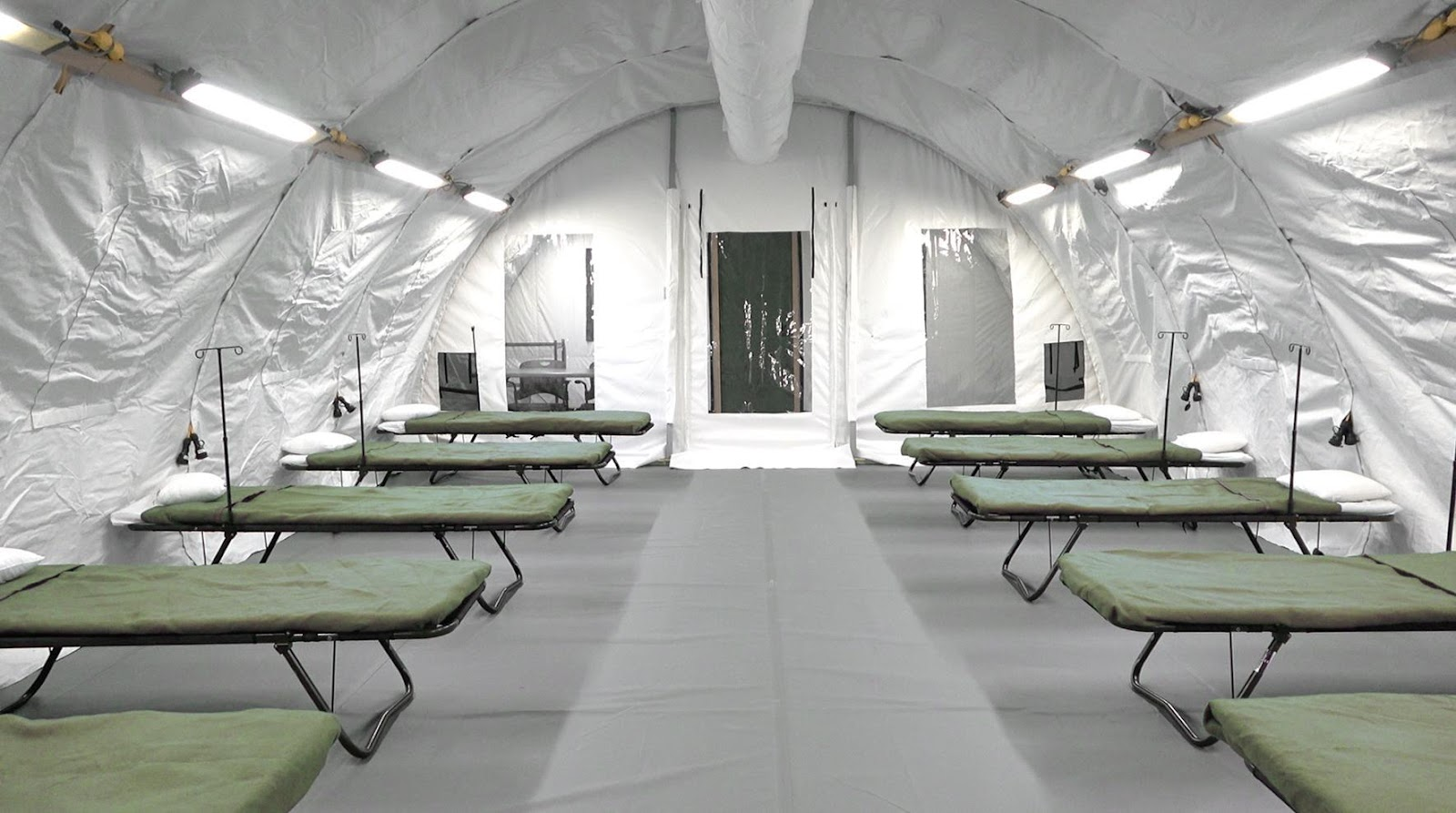 Mobile field hospital with negative pressure isolation systems from Alaska Structures donated to South Africa