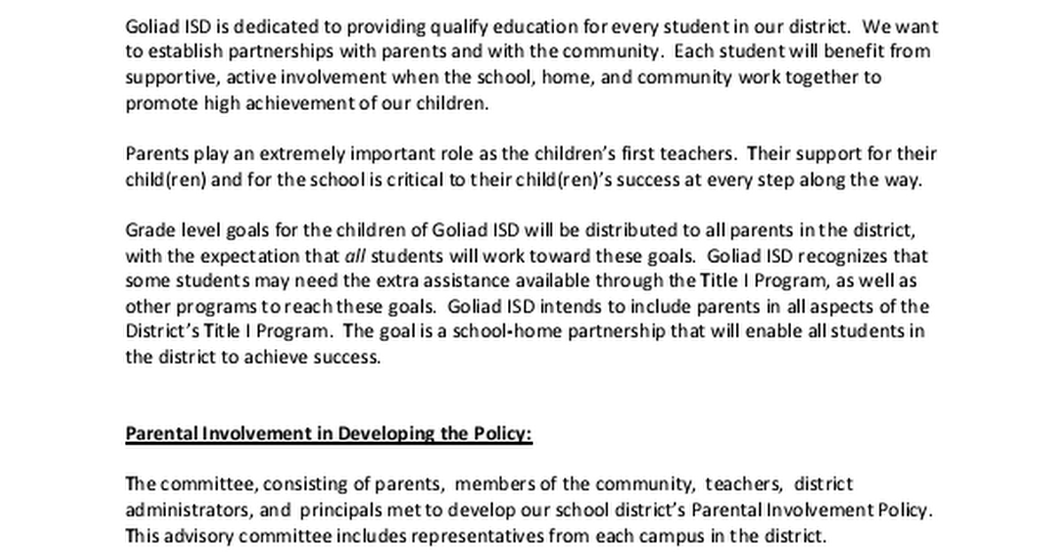 the essence of parental involvement in achieving school goals Key words: parental involvement, school-parent relationship, japanese schools achieving the goals they have set for themselves and for their students.