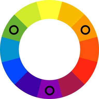 Color wheel with black spots on green, orange, and purple.