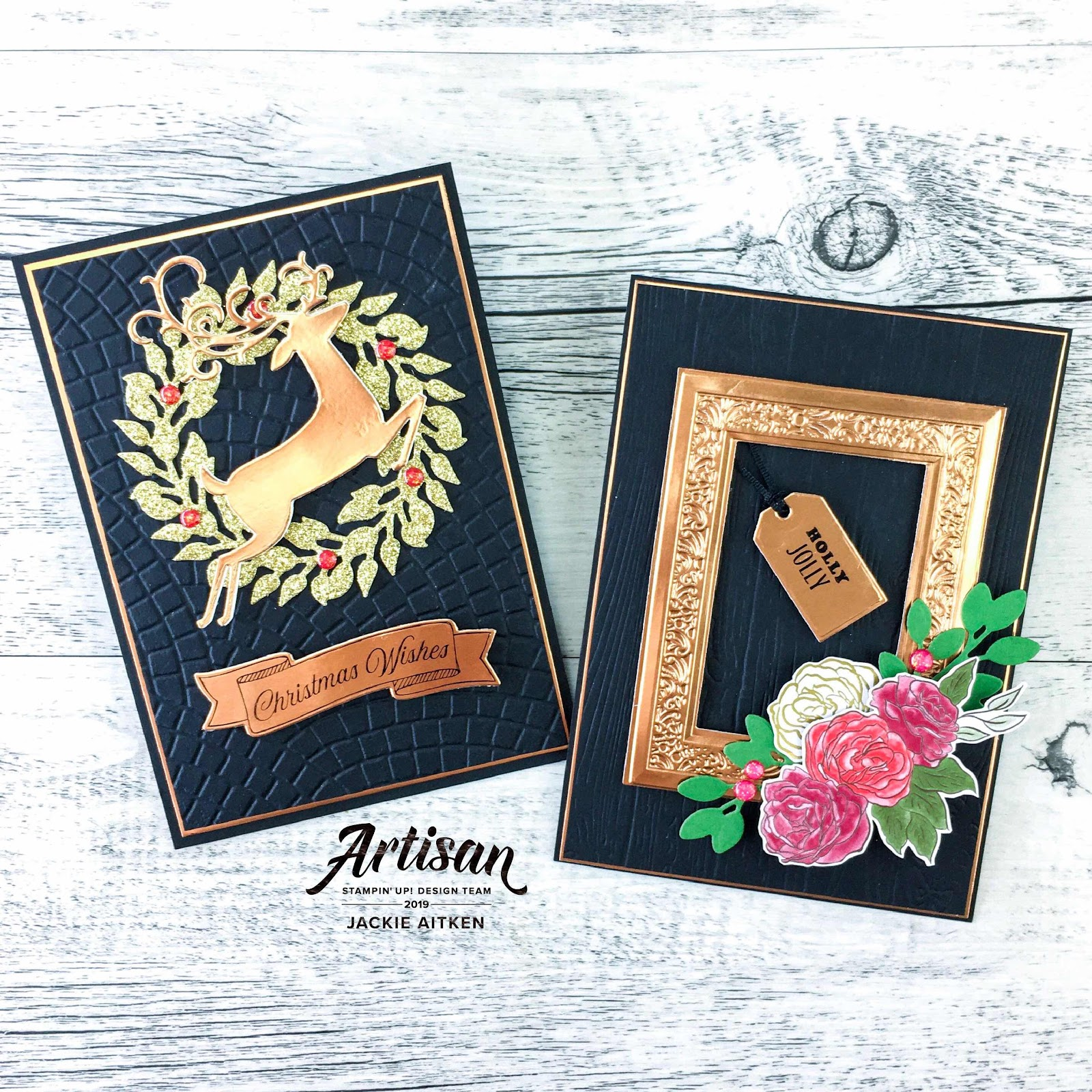 Jaxx Crafty Creations, Jackie Aitken, Be Inspired Blog Hop, Christmas Cards, Black n Bling, All Around Wreath Dies, Christmastime Is Here, Stampin' Up!