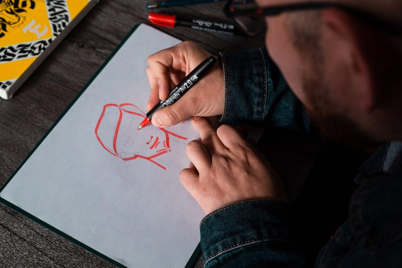 Drawing man, closeup